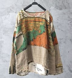 Womens Tops Leisure Layer Blouse Loose Fit Oil Paint Double Pant 100% Linen New