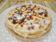 Cinnamon Roll Topping for Waffles & Pancakes from Frugal Foodie Mama- all of the deliciousness, none of the mess!