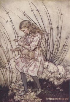 """""""It grunted again, so violently, that she looked down into its face in some alarm.""""  Art: Arthur Rackham, London: William Heinemann, 1907"""