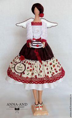Феечка Black-forest (Германия) - ярко-красный, шоколад, тильда, тильда кукла