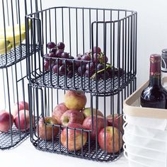 Vertica Wire Stacking Bins - Made of iron with a reinforced base, our stackable bins are durable, stable and ready to make the most of your space. Simply slide one bin on top of the other to create instant storage for the kitchen pantry, bath, laundry Stacking Bins, Stackable Bins, Kitchen Pantry Storage, Pantry Organization, Open Pantry, Kitchen Pantries, Pantry Ideas, Kitchen Bins, Pantry Storage Containers