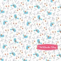 Sweet Autumn Day Organic Blue Bird Song Yardage SKU# SWE-140902