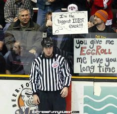 The referee at this hockey game has no idea that he is being pranked in  front of thousands of people! Hats off to the person who came up with this  idea! dbfda054c