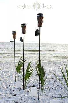 beach weddings, tiki torches, aisle decor, santa rosa beach