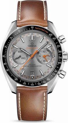 Omega Racing Co-Axial Master Chronometer Chronograph 44.25mm.On the sun brushed grey dial, there is a distinctive racing style minute-track which gives the watch its name. There are also two subdials with rhodium plated applied rings as well as a 6 o'clock date window that blends with the colour of the dial. The hands are either blackened or varnished orange, while the arrowhead indexes are blackened with white Super-LumiNova.