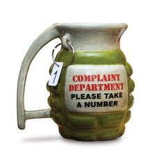 I so need this cup for monday and thursday mornings at work!!!!  complaints department mug