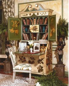 A DECOUPAGE SECRETARY DESK DECORATED BY ELSIE DE WOLFE WITH HER OWN HANDS USING 18TH CENTURY FLORAL PRINTS, SHOWN HERE IN A ROOM DESIGNED BY HUTTON WILKINSON AS AN HOMAGE TO ELSIE DE WOLFE.  NOTE:  THE FERN CHINTZ WHICH WAS CREATED SPECIALLY FOR DE WOLFE, THE CHAIRS FROM HER OWN VILLA TRIANON AT VERSAILLES, ALL FROM WILKINSONS PRIVATE COLLECTION OF ELSIE DE WOLFE MEMORABILIA.