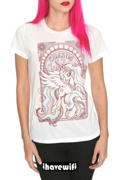 LARGE so it'll shrink into a medium. 'cuz Medium shrunk into smaller than the small. My Little Pony Princess Celestia Art Nouveau Girls T- Shirt All Fashion, Fashion Brands, Womens Fashion, Fashion Ideas, Art Nouveau, My Little Pony Princess, Rock T Shirts, Tee Design, Cool Tees