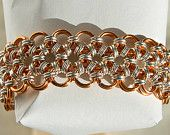 """Copper & Silver plated Japanese style 12 in 2 chainmaille bracelet - a hand made 7 5/8"""" bracelet featuring enamelled copper and silver plated jump rings all made by myself into the intricate pattern of japanese 12 in 2 chainmaille."""