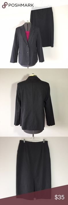 """Laura Scott Petite Gray Pinstripe Skirt Suit Laura Scott Petite Gray Pinstripe Skirt Suit. Both pieces are size 14P, 40% wool, 40% poly, 18% rayon, 2% lycra. Fully lined. Jacket measures: 17"""" across shoulders, 22"""" across chest, 26"""" long, 23"""" sleeve, 2 button front. Skirt measures: 34"""" around waist, 22"""" across hips, 33"""" long, 12"""" back slit. 2 front pockets, has a button and zipper close. 113/100/1240416 Laura Scott Skirts Skirt Sets"""