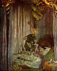 """Edmund Dulac - Death, from """"The Nightingale"""""""
