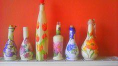 Decoupage bottles. Frida.