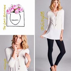 """Favorite Staple White Lace-up Top Great go to basic white top with unique lace up front. 3/4 length sleeves. Made of super soft rayon and spandex. Sizes S, M, L.  Bust Small 34"""" Med.  36"""" Lg.      38"""" Length 29"""" The Gold Boutique Tops"""