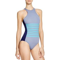 Dkny A-Lister Racerfront One Piece Swimsuit (145 CAD) ❤ liked on Polyvore featuring swimwear, one-piece swimsuits, currant, dkny bathing suits, one piece swimsuit, 1 piece swimsuit, dkny swimwear and dkny one piece swimsuit