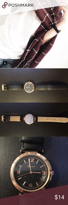 """🎀 Black and Rose Gold Watch 🎀 Black and Rose Gold Watch. In good condition. Approx 8.5"""" long. Needs battery. Purchased from Windsor store. Will include a FREE gift! 🎁🛍  ❣️Offers welcome ❣️NO holds ❣️NO trades WINDSOR Accessories Watches"""