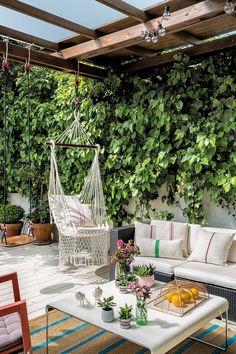 Diy Patio, Backyard Patio, Porch And Terrace, Backyard Projects, Backyard Ideas, Garden Ideas, Porch Decorating, Pergola, Decoration