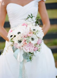 Friday Flowers: Anemones   The white and pale pink anemones make such beautiful bouquets along with pink peonies!  Romantic and modern.