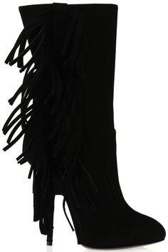 Giuseppe Zanotti Black Suede Fringe Boots