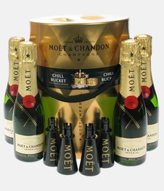 The Moet Chill Bucket. This is superb. 4 mini bottles of Moet Champagne come neatly packaged in a tin. Simply fill the tin with ice to chill the champagne and when you are ready to drink it open the bottles and insert the drinking spouts. Now you can drink it straight from the bottle without being told off by your mum!