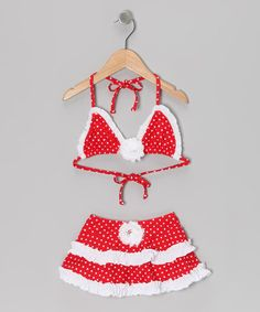 Take a look at this Red & White Polka Dot Skirted Bikini - Toddler & Girls by Mia Belle Baby on #zulily today!