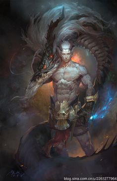 Dragon Warrior by Guangjian Huang - I see this stance as being an affectionate gesture between the protagonist and a female dragon love interest. Fantasy Warrior, Dragon Warrior, Fantasy Male, Fantasy World, Female Dragon, Fantasy Dragon, Dark Fantasy Art, Fantasy Artwork, Fantasy Kunst