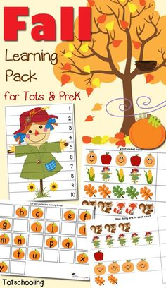 Preschoolers can practice math, literacy and fine motor skills while learning about the Fall season with this FREE Fall Printable Pack. Includes 40 hands-on