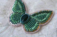 """Брошь-бабочка вышитая бисером """"Лорейн"""" - зелёный,мятный,металлик,брошь"""