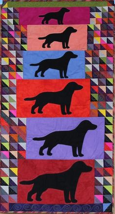 "Black Dogs, 2012, 24"" x 45"" by Karen Duling.  Machine quilted by Wendy Paskus, Stipples, Etc."