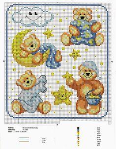 Ricami, lavori e centinaia di schemi a punto croce di tutti i tipi, gratis: Raccolta di schemi con orsetti per biancheria neonato