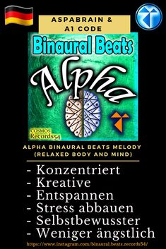 Artist 👉 Aspabrain & Code Album 👉 Alpha Binaural Beats Melody (Relaxed Body and Mind) - Concentrarse - Creativo - Relajarse - Reducir el estrés - Seguro de si mismo - Menos ansioso Mental Health Recovery, Mental Health Matters, Stress Less, Reduce Stress, Cosmos, Binaural Beats, Anxious, Mindfulness, Coding