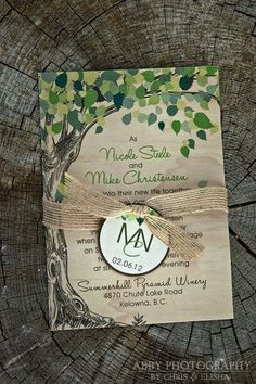 """Real Wood nature inspired wedding invitation - Featured in """"Wedding Bells"""" Magazine:"""