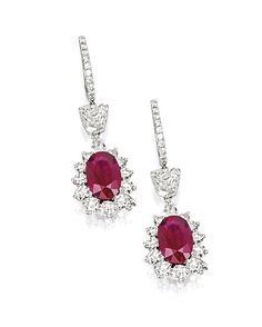 PAIR OF RUBY AND DIAMOND PENDENT EARRINGS  | Sotheby's