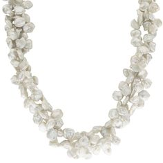 Imperial Pearls For You 18-inch Sterling Silver 3-string Keshi Freshwater Pearl Necklace