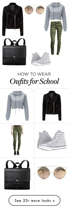 """School"" by mary-war on Polyvore featuring True Religion, Paige Denim, Converse and Monki"