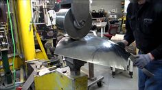 Part 3 Wray Schelin rolls a Jaguar E-Type fender on an English wheel