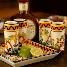 Vasos tequileros de Talavera de Puebla