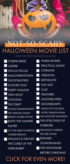 Non Scary Halloween Movies, Scary Movie List, Halloween Movie Night, 31 Days Of Halloween, Halloween Season, Disney Halloween, Halloween Snacks, Vintage Halloween, Witch Movies For Kids