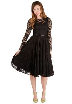 Only in Dreams Dress. You may believe that a dress this glamorous can only be imagined, but zip yourself into this black, lace-layered dress and see your dreams become reality. #black #prom #modcloth