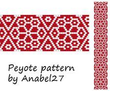 Red and White Flower Peyote pattern - beadwork -  peyote cuff  - bead pattern #15