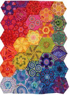 Glorious Hexagons in all Kaffe Fassett Collective fabrics.