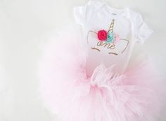 Unicorn First Birthday Outfit - Baby Girl Unicorn Party - Girls First Birthday Outfit - Baby Bday Outfit by Belle + Whistle