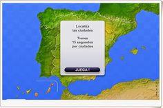 """""""Ciudades de España"""" es un juego online en el que hay que localizar ciudades en toda España, no sólo capitales de provincia, también ciudades pequeñas. La localización, lógicamente, se hace por aproximación. La puntuación es mayor en cuanto menos kilómetros nos alejemos de la posición real de la ciudad. Puede uno registrarse y aparecer en el ranking en competición con otros jugadores."""