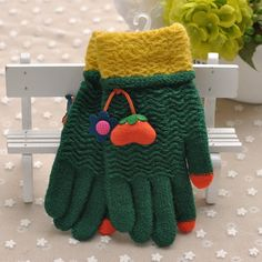 Wholesale Children's Knitted Five Finger Gloves Kids Cute Mitten, View Five…