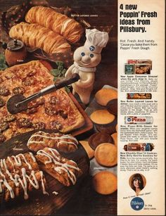 "1966 PILLSBURY vintage magazine advertisement ""Poppin' Fresh ideas"" ~ Butter Layered Loaves - Pizza - Streusel - Cookies - 4 Poppin' Fresh ideas from Pillsbury. - Hot. Fresh. And handy. 'Cause you bake them from Poppin' Fresh Dough. - New Apple ..."