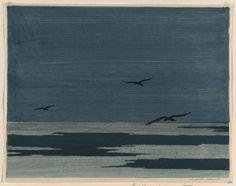 Elizabeth Colwell: Lake in Winter, 1909. Woodcut.