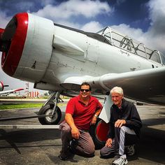 Will Jam (left) and Ray Sparks (right) posing in front of Sparkys old plane he bought in Thanks for sharing - show us your moments with the tag Old Planes, Van Nuys, Show Us, My Dad, Dads, Thankful, Poses, In This Moment, Gallery