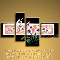 Large Contemporary Wall Art Floral Painting Orchid Flowers Artwork. In Stock $138 from OilPaintingShops.com @Bo Yi Gallery/ ops2475