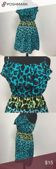 Ombre leopard print dress Excellent used condition. Worn maybe twice. No rips stains or holes. Ruffle top with elastic cinching at the top of bust and at the waist.  Adjustable straps. Machine washable.  From shoulder of mannequin to bottom of dress is 30 inches. All items are from a smoke free home Always Same or Next Day Shipping 📬 10% off bundles of 2 or more items ❤ Rue 21 Dresses Midi