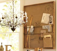 "Rustic Wall Organizer #potterybarn; I  like the Activity Center for my wall space in the den.  Maybe make something similar but different for each if us above ""our"" spaces?"