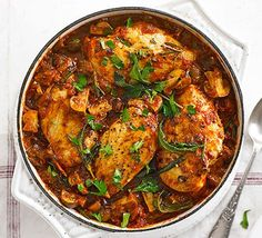 The classic Italian 'hunter's stew' gets a healthy makeover, with low-fat chicken breasts, prosciutto and a rich herby tomato sauce